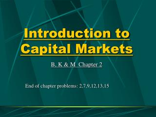 Prologue to Capital Markets