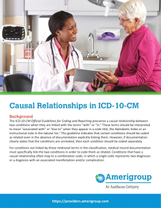 Causal Relationships in ICD-10-CM