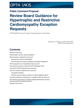 Review Board Guidance for Hypertrophic and Restrictive Cardiomyopathy Exception Requests