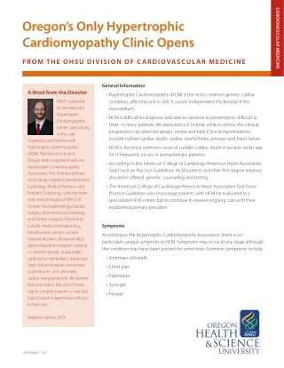 Oregon's Only Hypertrophic Cardiomyopathy Clinic Opens