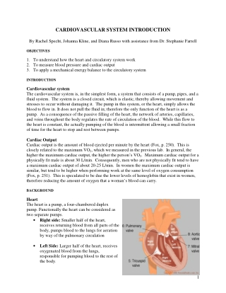 CARDIOVASCULAR SYSTEM INTRODUCTION