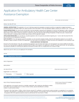 Application for Ambulatory Health Care Center Assistance Exemption
