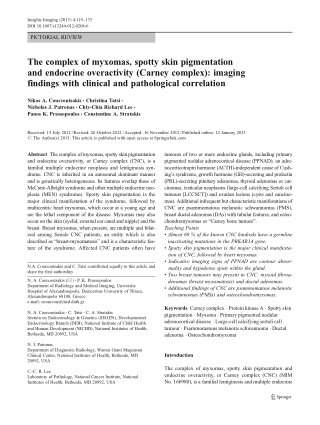 The complex of myxomas, spotty skin pigmentation and endocrine overactivity (Carney complex): imaging findings with clinical and pathological correlation