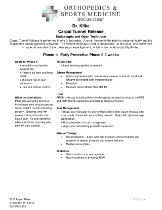 Dr. Klika Carpal Tunnel Release