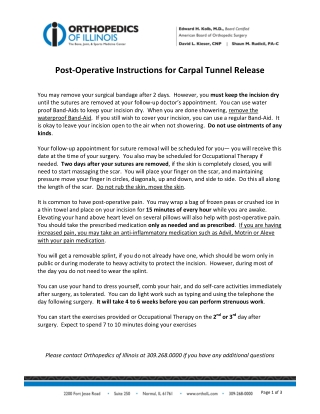 Post-Operative Instructions for Carpal Tunnel Release