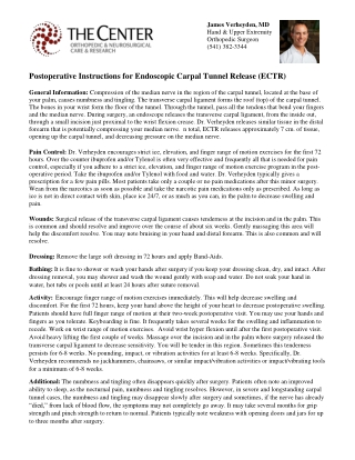 Postoperative Instructions for Endoscopic Carpal Tunnel Release (ECTR)