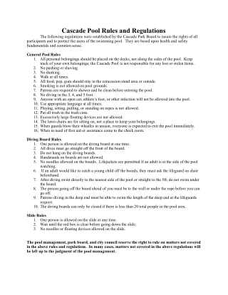 Cascade Pool Rules and Regulations