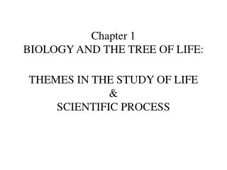 Section 1 BIOLOGY AND THE TREE OF LIFE: THEMES IN THE STUDY OF LIFE SCIENTIFIC PROCESS