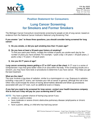 Lung Cancer Screening for Smokers and Former Smokers
