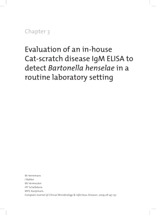 Evaluation of an in-house Cat-scratch disease IgM ELISA to detect