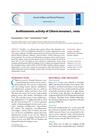 Antihistaminic activity of Clitoria ternatea L. roots