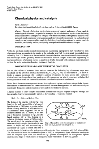 Chemical physics and catalysis