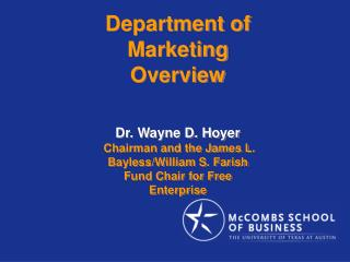 Branch of Advertising Outline Dr. Wayne D. Hoyer Director and the James L. Bayless/William S. Farish Store Seat With the
