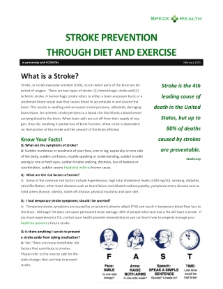 STROKE PREVENTION THROUGH DIET AND EXERCISE