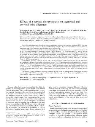 Effects of a cervical disc prosthesis on segmental and cervical spine alignment