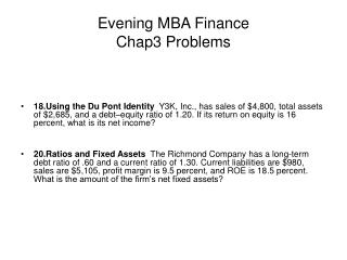 Evening MBA Money Chap3 Issues