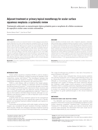Adjuvant treatment or primary topical monotherapy for ocular surface squamous neoplasia: a systematic review