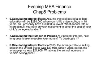 Evening MBA Fund Chap5 Issues