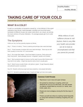 TAKING CARE OF YOUR COLD