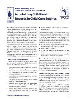 Maintaining Child Health Records in Child Care Settings