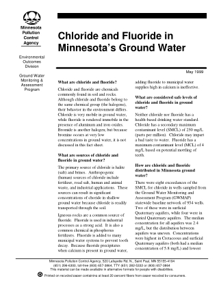 Chloride and Fluoride in Minnesota's Ground Water