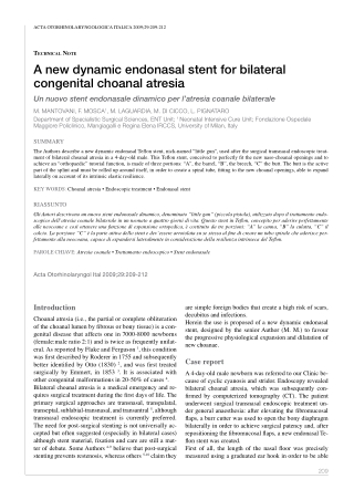 A new dynamic endonasal stent for bilateral congenital choanal atresia