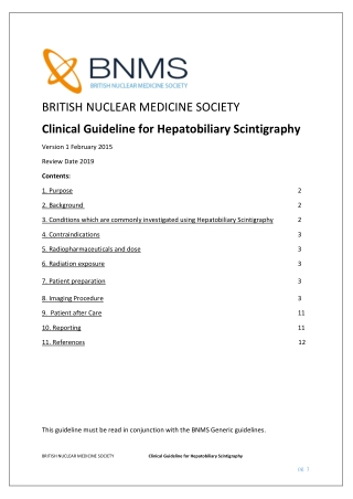 Clinical Guideline for Hepatobiliary Scintigraphy