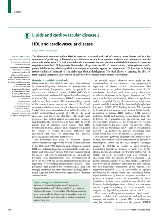 Lipids and cardiovascular disease 2 HDL and cardiovascular disease