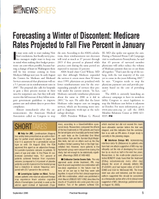 Forecasting a Winter of Discontent: MedicareRates Projected to Fall Five Percent in January