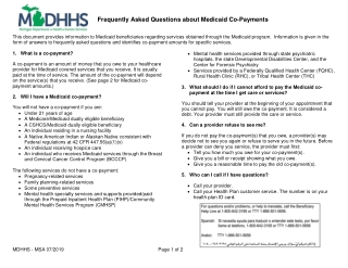 Frequently Asked Questions about Medicaid Co-Payments