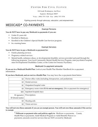 MEDICAID* CO-PAYMENTS