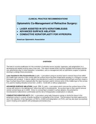 Optometric Co-Management of Refractive Surgery: