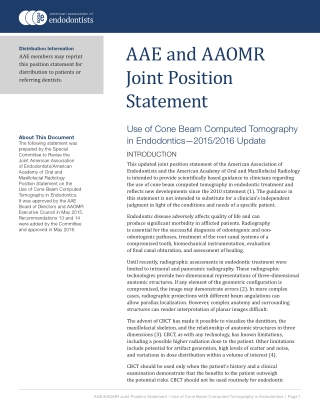 AAE and AAOMR Joint Position Statement