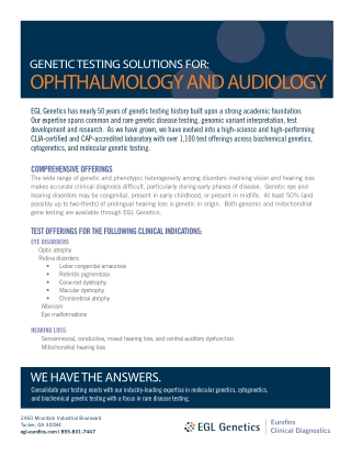 OPHTHALMOLOGY AND AUDIOLOGY