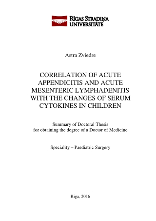 CORRELATION OF ACUTE APPENDICITIS AND ACUTE MESENTERIC LYMPHADENITIS WITH THE CHANGES OF SERUM CYTOKINES IN CHILDREN