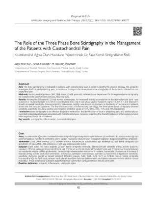The Role of the Three Phase Bone Scintigraphy in the Management of the Patients with Costochondral Pain