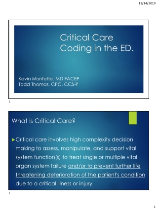 Critical Care Coding in the ED.