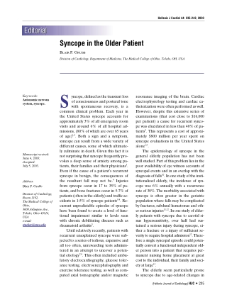 Syncope in the Older Patient