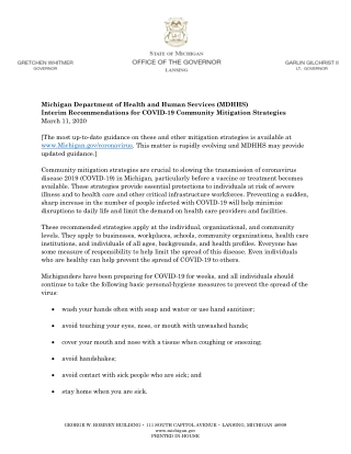 Michigan Department of Health and Human Services (MDHHS) Interim Recommendations for COVID-19 Community Mitigation Strategies