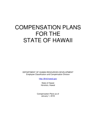 COMPENSATION PLANS FOR THE STATE OF HAWAII