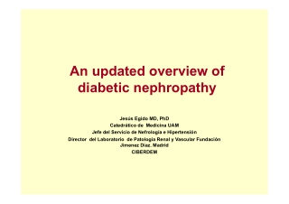 An updated overview of diabetic nephropathy