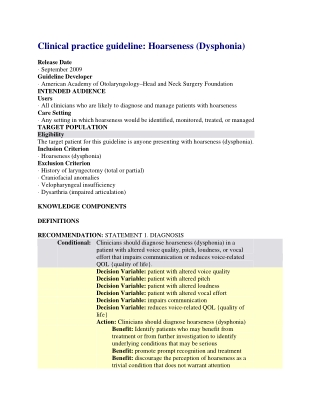Clinical practice guideline: Hoarseness (Dysphonia)