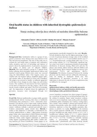 Oral health status in children with inherited dystrophic