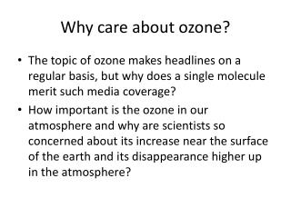 Why think about ozone