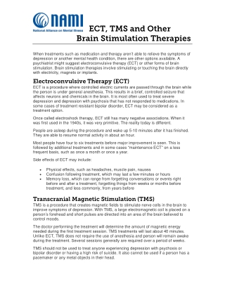 ECT, TMS and Other Brain Stimulation Therapies