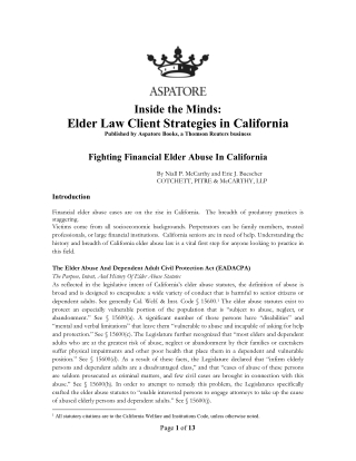 Elder Law Client Strategies in California