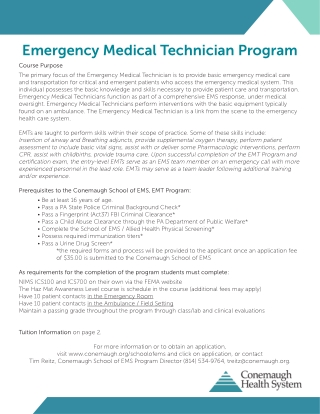 Emergency Medical Technician Program