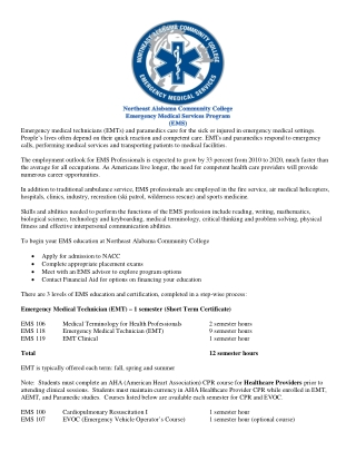 Emergency Medical Technician (EMT) – 1 semester (Short Term Certificate)