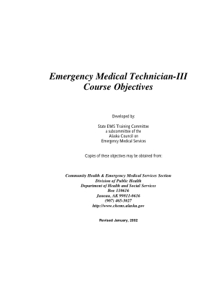 Emergency Medical Technician-III Course Objectives