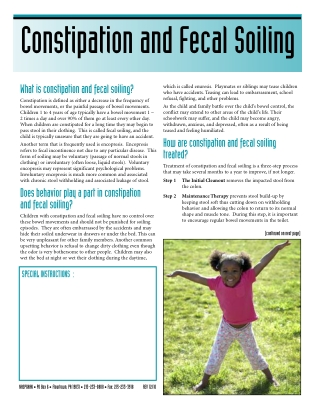 Constipation and Fecal Soiling